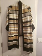 Colleen lopez Open Front Duster cardigan GREY CAMEL Stripe size XL