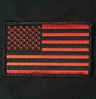 USA AMERICAN FLAG ARMY MORALE MILITARY COVERT BLACK OPS RED VELCRO® BRAND PATCH