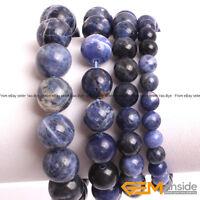 "Blue Sodalite Jasper Beaded Stretchy Bracelet Handmade Gemstone Natural 7"" YB"