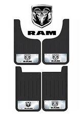 4 PC HEAVY DUTY DODGE RAM LOGO 12X23 MUD SPLASH GUARDS FOR TRUCKS SUV BLACK