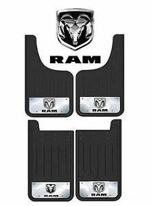 4 PC HEAVY DUTY DODGE RAM LOGO 12X23 MUD SPLASH GUARDS FOR TRUCKS SUV BLACK