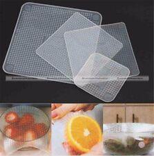 4Pcs Food Fresh Keeping Silicone Saran Wrap Reusable Wrap Seal Cover Kitchen S8