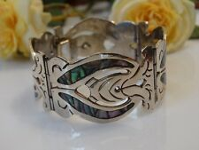 WONDERFUL ANTIQUE MEXICAN AZTEC SILVER INLAID ABALONE SHELL BRACELET