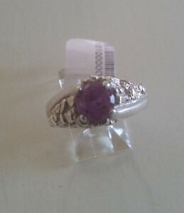 ARTISAN CRAFTED 92.5 STERLING SILVER NUGGET CZ AMETHYST MAN RING SIZE 10