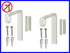 2 Sets Curtain Rod Holder Wall Ceiling Bracket WHITE Color - No Drill Needed
