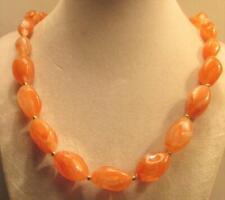 "Lucite Bead Necklace Peach Hong Kong Vintage 70's Long 25"" Graduated Plastic"
