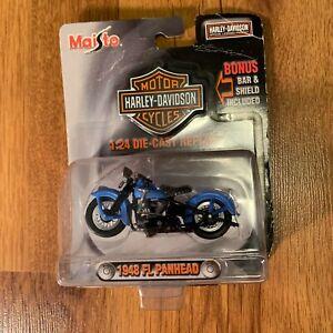 Harley Davidson Motorcycles Blue 1948 FL Panhead 1:24 Die-Cast Replica Maisto