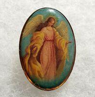 Vintage Guardian Angel Religious Oval Enamel Pin Brooch Lapel Pin