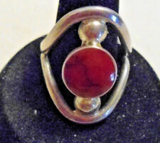 .925 Sterling Silver Ring With Red Coral Gemstone Size 8 Good condition