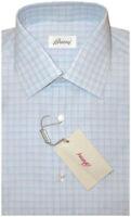 $600 NEW BRIONI LIGHT BLUE & WHITE FANCY WINDOWPANE CHECK DRESS SHIRT 38 15