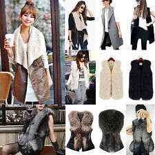 Womens Winter Faux Fur Sleeveless Vest Waistcoat Jacket Gilet Warm Cardigan Coat