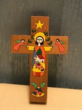 Wooden Cross Handcrafted El Salvador Hand Painted Christian Folk Art 4.75""