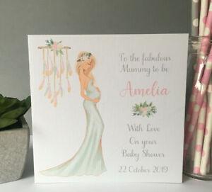 Personalised Handmade Baby Shower Card Mum Mummy To Be