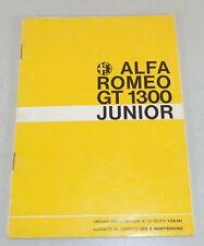 Uso E Manutenzione Alfa Romeo Giulietta GT 1300 Junior Stand 02/1969