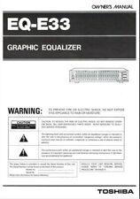 Toshiba EQ-33 Stereo Graphic Equalizer Operating Instruction EQ USER MANUAL