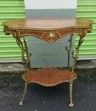 French Ormolu Gilted Metal & Inlay Rosewood Side Table.