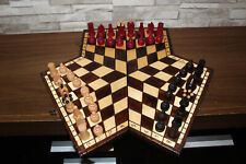 Wooden Chess Set for 3 Three Players - 3 Colours - RARE - Three Way