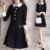 Korean Women Color Block Babydoll Collar A-line Pleated Peplum Short Plus Dress