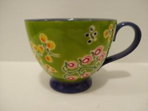 ANTHROPOLOGIE RETIRED Floral Handpainted Footed Mug Blue Handle- NEW no tag