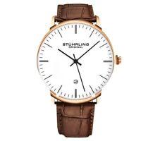 STUHRLING ORIGINAL men's genuine leather dress watch with date GP16655