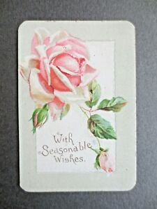 Victorian Greetings Card Pink Rose With Seasonable Wishes Chromo Litho