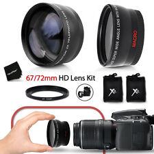 67mm Wide Angle + 2x Telephoto Lenses f/ Nikon D5500 D5300 D5200 D3300 D3200