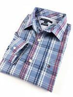 TOMMY HILFIGER Shirt Men's Light Indigo Blue Check Pocket Custom Fit Long Sleeve