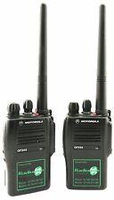 MOTOROLA GP344 VHF 5 WATT WALKIE-TALKIE TWO WAY RADIOS, HOLSTERS & FIST MICS x 2