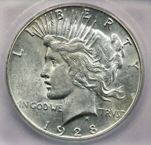 1928-S 1928 Peace Dollar $1 ICG AU55 Really flashy!