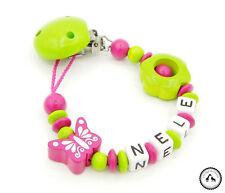 ♥ Schnullerkette mit Namen ★ Blume/Schmetterling in hellgrün/pink ♥ Neu ♥