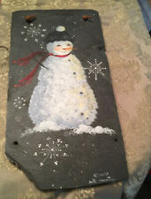 """14x9"""" EXCELLENT SNOW GIRL Hand Painted On SLATE Artist Signed"""