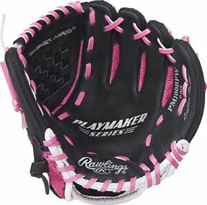 """Rawlings Playmaker Youth Girls Baseball Glove 10"""" Right Hand Throw Black Pink"""
