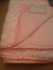 Reversible Rose Rosette Baby Stroller Blanket Throw Pink Looks Faux Fur NEW wTag