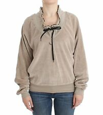 NWT $320 JUST CAVALLI Sweater Underwear Beige Velvet Mock Cardigan IT46/ US12/XL
