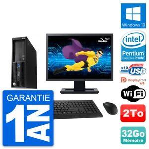 "PC HP Z230 SFF Ecran 22"" Intel Pentium G3220 RAM 32Go Disque 2To Windows 10 Wifi"