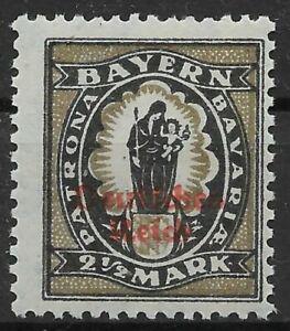 Germany Deutsches Reich 1920 Mi. Nr. 133 II 2 1/2 M Bavaria Definitive Opt. MH