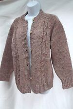 vtg Donegal Ireland wool tweed chunky cable knit cardigan sweater LLBean M MINT