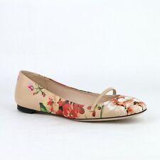 Gucci Women's Pink Leather Ballet Shoes with Flower Detail 411038 5779