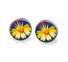 Bright Yellow Flower post earrings ,wearable art, fun jewelry, floral, colorful