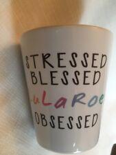 Lularoe Coffee Tea Mug Stressed Blessed Lularoe Obsessed Cup White pink blue