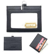 Ixyvia Horizontal Genuine Leather Id Case Badge Holder, Card Holder - Black