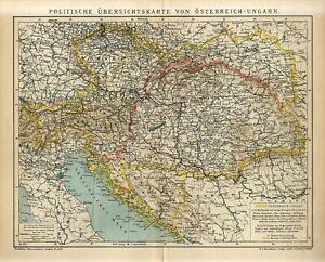 1905 AUSTRIA-HUNGARY POLITICAL MAP CZECH BOSNIA GALICIA UKRAINE AntiqueMap dated