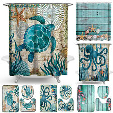 Sea Turtle Bathroom Rugs Non-Slip Pedestal Mats Toilet Cover Shower Curtain 4PCS