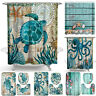 Bath Accessory Set Non-Slip Toilet Rug Mat Bathroom Shower Curtain Cover Carpets