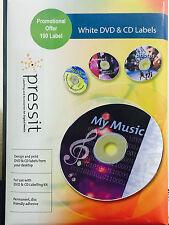 100 CD DVD WHITE MATT OFFSET PRESSIT LABELS A4