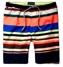 df21edb003 Scotch & Soda Mens Stripe Swim Trunks Small Multicolored Regular