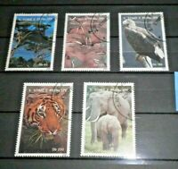 "S. TOME' PRINCIPE 1992 ""ANIMALI SELVATICI WILD ANIMALS"" USED SET (CAT.4)"