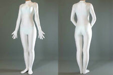 New! White Spandex Lycra Bodysuit Zentai Suit Back Zip Without Hood