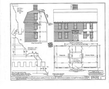 Timber Framed gambrel roof Colonial home plans, historic wood house, narrow lot