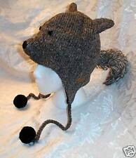 deLux SQUIRREL HAT knit LINED gray costume ADULT grey animal mens womens UNISEX
